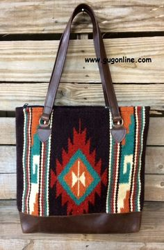 Southwest Sunset Large Purse with Brown Trim www.gugonline.com $46.95