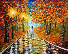 Autumn Beauty acrylic palette knife painting Georgeta Blanaru Romania