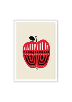 Apple Art print, Geometry, Fruit, Drawings, Ilustration, Baby nursery decor, Baby girl room on Etsy, $20.00