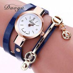 New Duoya Fashion Women Bracelet Watch Gold Quartz Gift Watch Wristwatch Women Dress Leather Casual Bracelet Watches
