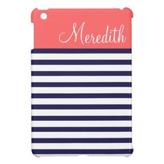 Navy Blue and Coral Preppy Stripes Custom Monogram iPad Mini Case