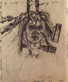 Antonin Artaud -Portrait de Paule Thevenin dit 'Paule aux ferrets,' 1947