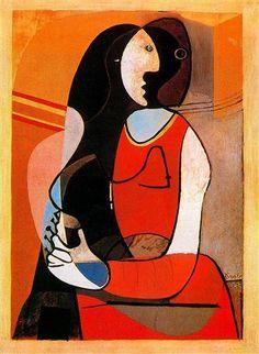 Seated woman -Artist: Pablo Picasso Completion Date: 1927 Style: Cubism Period: Neoclassicist & Surrealist Period Genre: portrait Tags: female-portraits