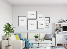 Gallery Wall Layout, Gallery Wall Frames, Frames On Wall, Canvas Wall Collage, Wall Behind Couch, Room Wall Decor, Photos, Pictures, Compact Kitchen