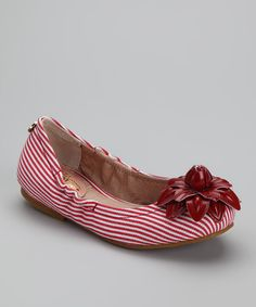 Look at this MUPS Red & White Stripe Ballet Flat - Kids on #zulily today!