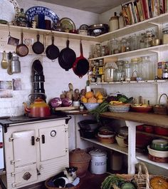 very rustic country cottage kitchen