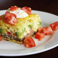 California Breakfast Casserole with Turkey Sausage, Fresh Tomatoes, Avocados, Eggs and Cheddar Cheese - The prepackaged hashbrowns and turkey sausage patties could be replaced with a homemade versions.