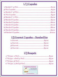 cake price list template