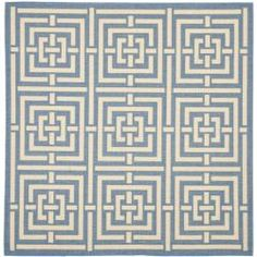 @Overstock - Tradition meets contemporary style in this square indoor/outdoor area rug, which features a dramatic geometric print. The rug is made with durable polypropylene that resists the elements, so you can use it to add style to your patio or garden.http://www.overstock.com/Home-Garden/Poolside-Blue-Bone-Indoor-Outdoor-Rug-67-Square/6599849/product.html?CID=214117 $93.59