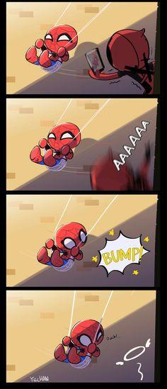 I'd be spider man in this comic as a kid Marvel Avengers, Deadpool X Spiderman, Deadpool Funny, Baby Avengers, Marvel Funny, Marvel Memes, Marvel Comics, Deadpool Kawaii, Deadpool Pikachu