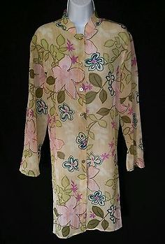 JH Collectables NEW Multi Color Sheer Button Down Nehru Collar Blouse Ladies L