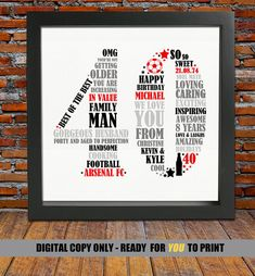 Personalized 40th Birthday Gift For Him