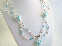 Seed Bead Necklace Lampwork Bead Necklace with White Hearts Blue Crystals Jewelry Set  etsy/$36