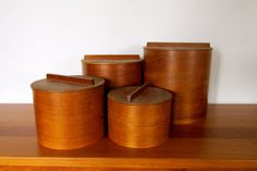 Set of 4 Mid-Century Teak Veneer Storage by ArtExtraction on Etsy