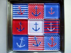 NAUTICAL ANCHORS Summer Beach Lake Ocean Themed Magnets, Magnet Set of Nine with Storage Tin by UpNorthKnitsAndGifts on Etsy https://www.etsy.com/listing/245171653/nautical-anchors-summer-beach-lake-ocean
