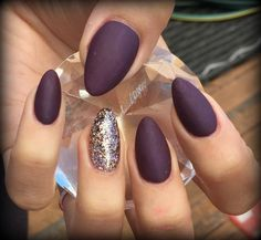 Nail art.  Fall inspired manicures. Wine colored matte almond nails.