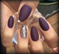 wine coloured matte almond nails