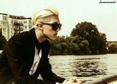 Rap Monster - a brilliant man that looks like this.. holy shit..    rapper hair and shades.. he has no idea how painfully sexy he is...  unfortunately..
