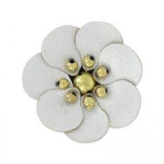 Fleur en simili cuir 30 mm Argenté x1