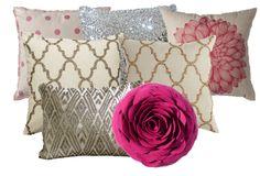 Birch Grove Interiors, Pink polka dot pillow, gold pillow, silver pillow, glitter pillows, glam home decor