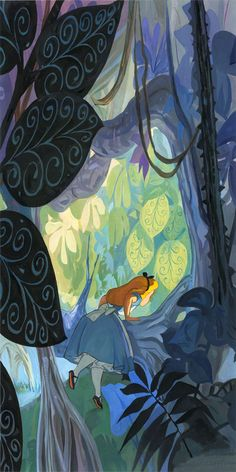 "Where Curiosity Grows Where Curiosity Grows | 30 x 15 | Oil on Canvas I believe that art should be brave, that it should take chances and consistently push the envelope. And that's certainly what Walt Disney did when creating ""Alice in Wonderland"", and that courage to be different, and to ask the audience to see differently, is what's truly at the heart of Alice's journey. ""Where Curiosity Grows"" is, in a way, a celebration of that.  ~Jim Salvati"
