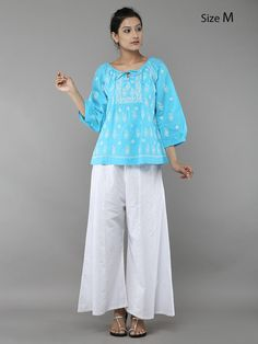Blue Lucknowi Hand Embroidered Cotton Top