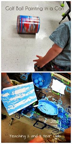 Teaching 2 and 3 Year Olds: Art Activities for Active Kids - Golf ball painting in a can.