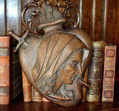 Antique Large French Carved Wood Chestnut Ex by VintageFleaFinds
