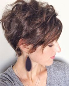 Long Asymmetrical Bangs with Pixie Haircut-Short Haircuts for Curly Hair