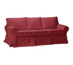 "PB Basic Slipcovered Sofa 82.5"", Box Edge Down Blend Wrapped Cushions, Linen Blend Garnet"