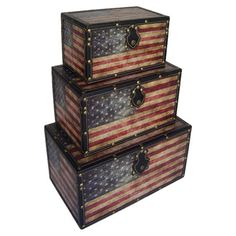 Set of three trunks with weathered American flag motifs.  Product: Small, medium and large trunkConstruction Materia...