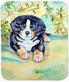 Bernese Mountain Dog Puppy Mouse Pad, Hot Pad or Trivet