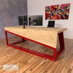 Modern asymmetric waterfall edge desk IndustrialReclaim Modern asymmetric waterfall edge desk In Steel Furniture, Industrial Furniture, Table Furniture, Modern Furniture, Furniture Design, Industrial Table, Industrial Loft, Modern Chairs, Furniture Stores