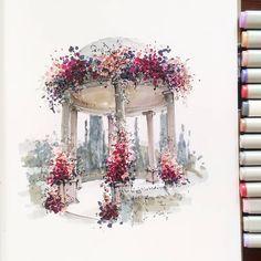 На улице просто шикарная погода! А я болею и сижу дома, вот ведь обидно зато у меня получилось нарисовать вот такой скетчик. Я эту картинку давно присмотрела, но все не решалась начать рисовать. А тут нашла скетчбук с а4 листа и была не была....  .  #эскизсвадьбы  #свадьба  #президиум  #оформлениесвадьбы  #weddingdecor  #wedding  #sketch  #weddinginspiration  #weddingillustration #скетчназаказ #sketching  #sketch  #interiorsketch  #interior #рисуюкаждыйдень #оформление #artblog #маркеры…