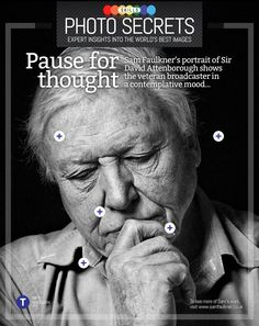 Explore this interactive image: David Attenborough portrait by PhotographyWeek David Attenborough, Digital Magazine, Einstein, Insight, How To Find Out, Scene, Mood, Thoughts, Photography