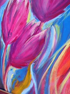 Original Tulip Acrylic Painting Abstract Flower 16 by BendixenArt, $88.00