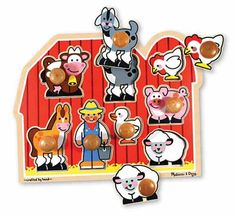 {Large Farm Jumbo Knob Puzzle} Extra thick wooden puzzle includes eight pieces, with jumbo wooden knobs that are easy for children to grasp. *Perfect gift for a toddler