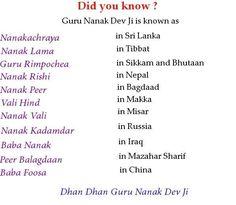 The different names of Guru Nanak ji
