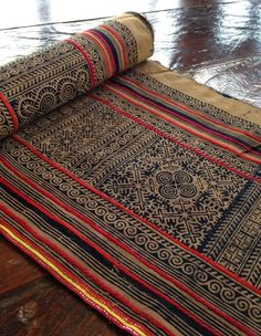 Vintage Style Hmong Batik handprint Textile Brown Tribal Ethnic Craft Supplies #Handmade