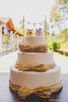 Casamento Rústico e Romântico! Topo de bolo de corujinha!