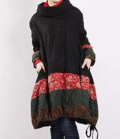 Winter loose padded coat/ linen babydoll padded dress от MaLieb