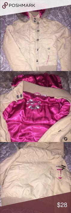 Billabong the bomb winter coat faux fur XS Billabong the bomb Size XS Tan 100% nylon shell Pink 100% polyester lining (feel silky) 100% acrylic faux fur hood lining Billabong Jackets & Coats