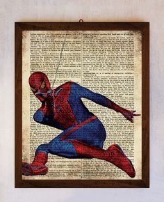 Spiderman Art Printable Spiderman Wall Art Book Page Print