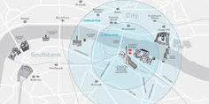 This is a map showing the Globe Theater in London. As many other famous structures in London, it sits along side of the river Thames.
