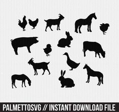 Farm Animals Svg, Cricut Cut Files, Silhouette Cut Files  This listing is for an INSTANT DOWNLOAD. You can easily create your own projects. Can be used with the silhouette cutting machines or other machines that accept SVG.  It includes 1 zip folders  1. svg, dxf, png and pdf files  SVG & DXF Files