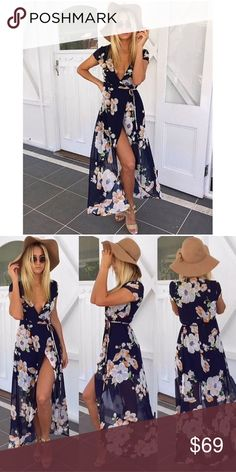 NEW! Floral Print Wrap Dress Floral print dress Deep plunge Wrap around Above the knee Short sleeves Tie closure Minimal stretch True to size Chiffon, rayon Model is wearing size small haus of layers Dresses