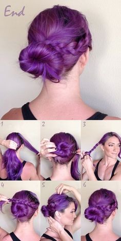 easy braided twisted purple up-do by clip on human hair extensions