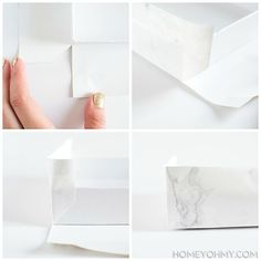 Covering a box with contact paper - great pics/explanation for how to handle corners
