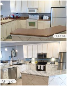 Before and After - Countertops PAINTED with Giani™ White Diamond kit.  Easy and affordable DIY kitchen makeover.