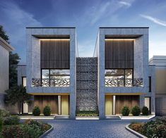 """""""Twin House"""" by on Behance Modern Townhouse, Townhouse Designs, Facade Design, Roof Design, Modern Architecture House, Architecture Design, Modern Houses, Chinese Architecture, Classical Architecture"""